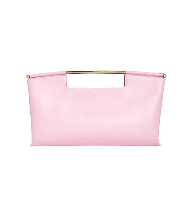 Delpozo Pink Calf Leather Clutch With Metal Handle