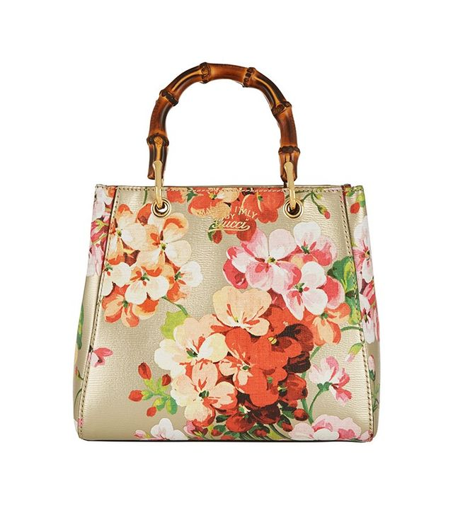 Gucci Bamboo Shopper Mini Printed Textured Leather Tote