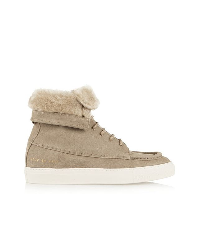 Common Projects Faux Shearling-Lined Brushed-Suede Ankle Boots
