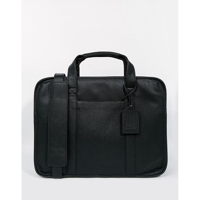 ASOS Vintage Style Briefcase In Black Faux Leather