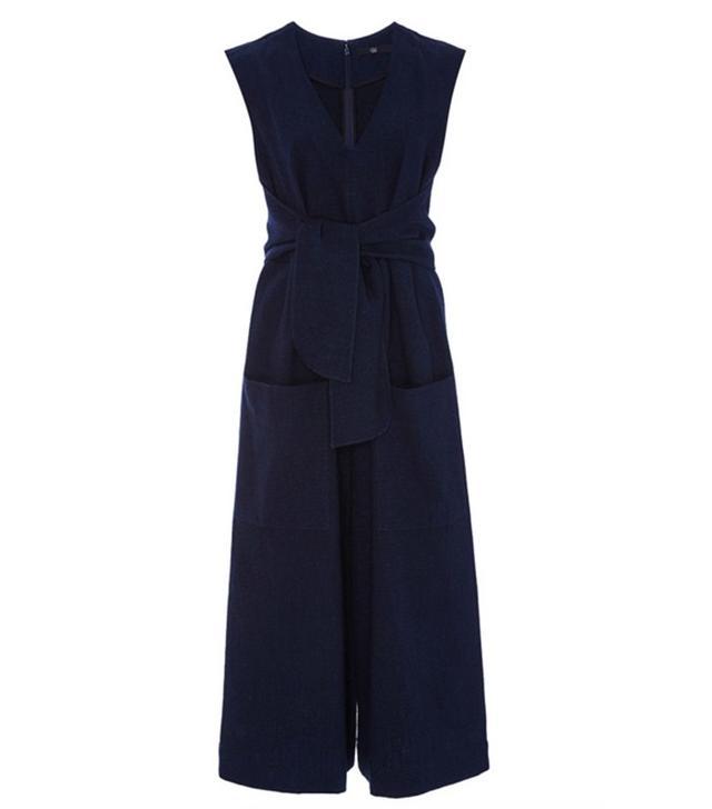Tibi Delave Cotton Tie Front Jumpsuit
