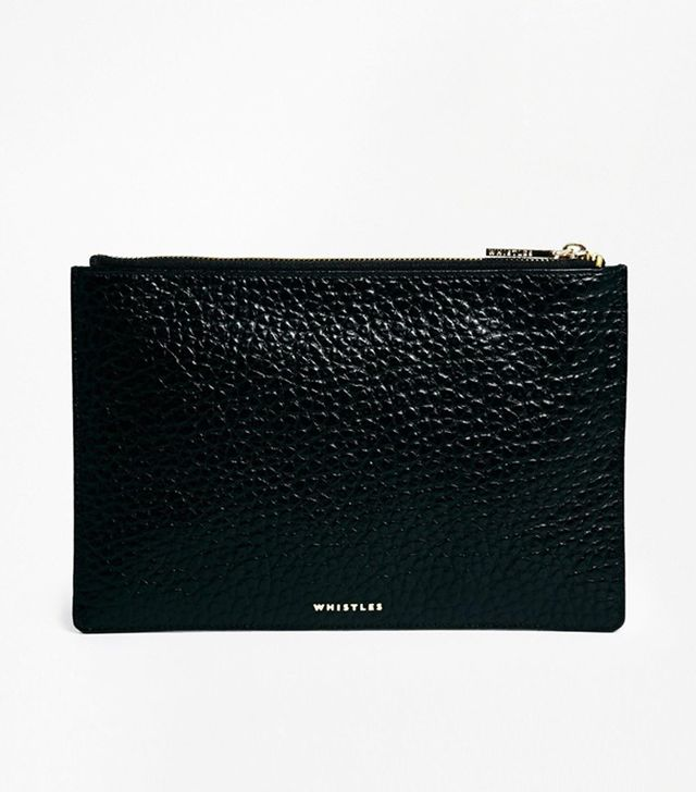 Whistles Bubble Leather Clutch in Black