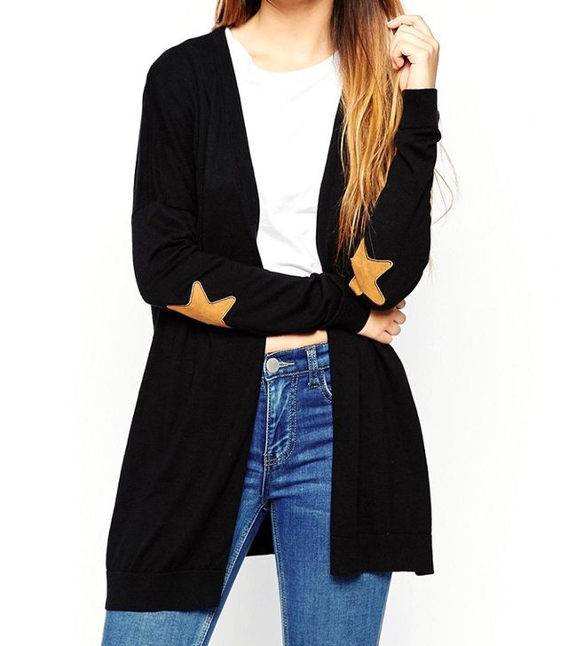 ASOS Swing Cardigan with Suede Look Star Elbow Patches