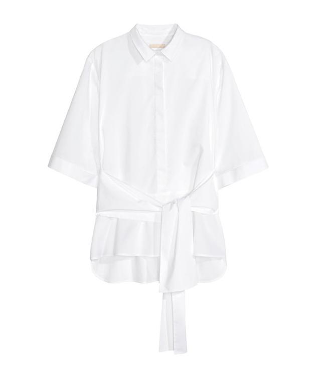 H&M Cotton Tie Blouse