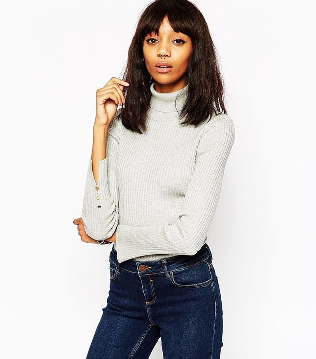 ASOS Ribbed Sweater With Roll Neck and Split Cuff Detail