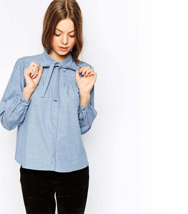 ASOS Pussy Bow Shirt in Chambray Blue