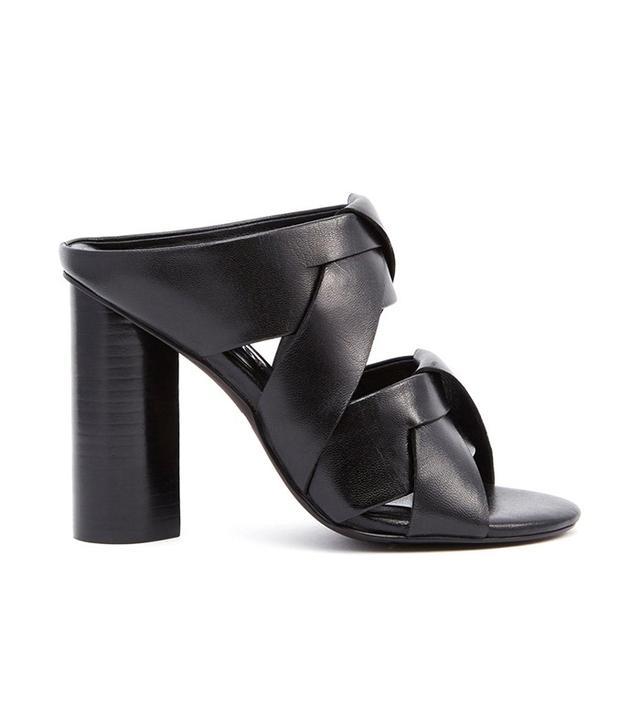 Senso Black Leather Heeled Mule Sandals