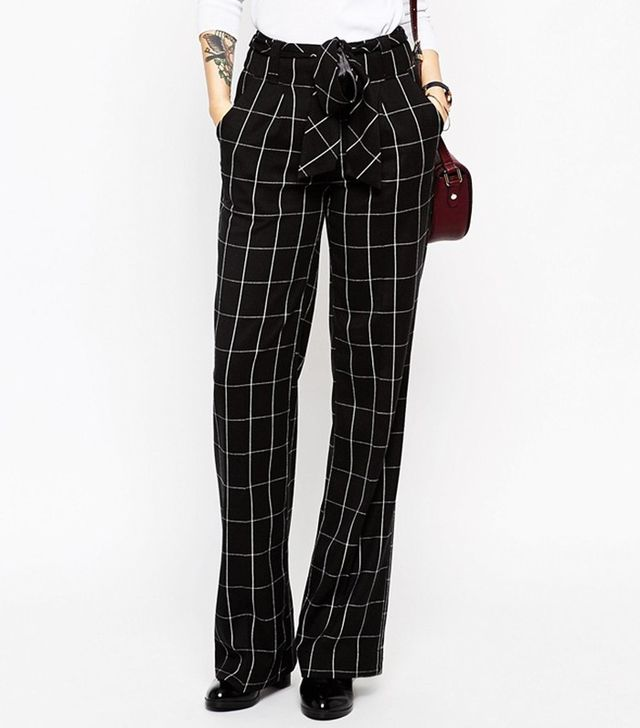 ASOS Wide Leg Pants in Mono Grid Check With OBI Tie