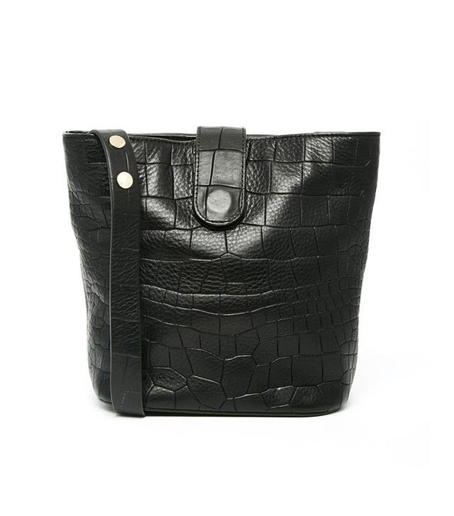 Whistles Leather Croc Bucket Bag