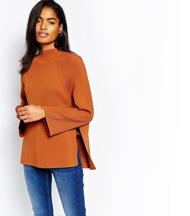 Whistles Roll Neck Cape Sweater in Rib
