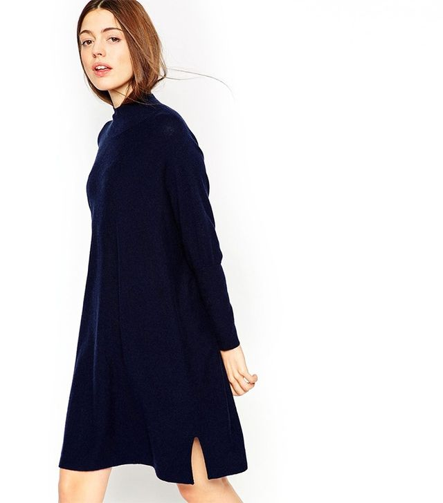 ASOS Tunic Dress in Knit With High Neck in Cashmere Mix
