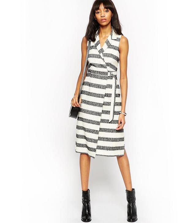 ASOS Premium Textured Stripe D-Ring Wrap Dress