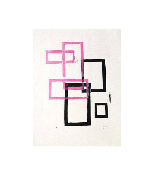 Stacy Rajab Pink and Black Geometric Squares