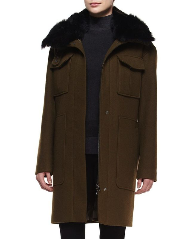 Theory Yvoia Bolton Coat With Fur Trim