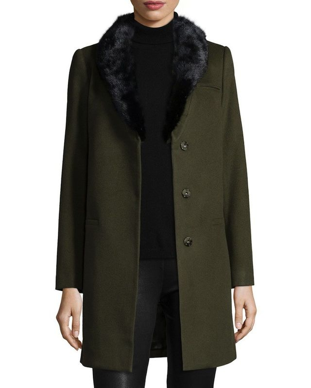 Belle Fare Cashmere Long Blazer With Mink Collar