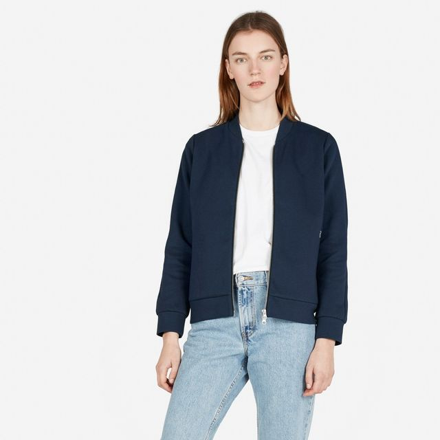 Everlane Street Fleece Bomber in Navy