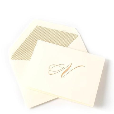 """N"" Script Engraved Initial Notes"