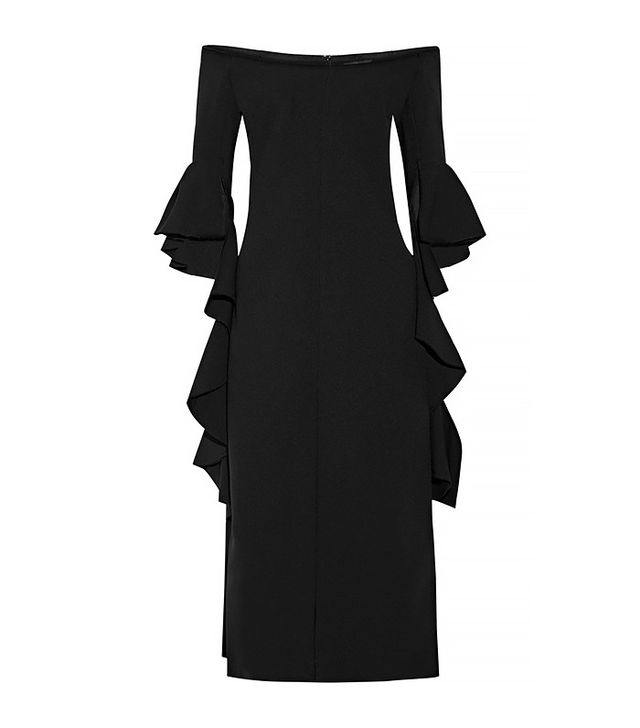 Ellery Precocious Ruffled Off-The-Shoulder Crepe Midi Dress