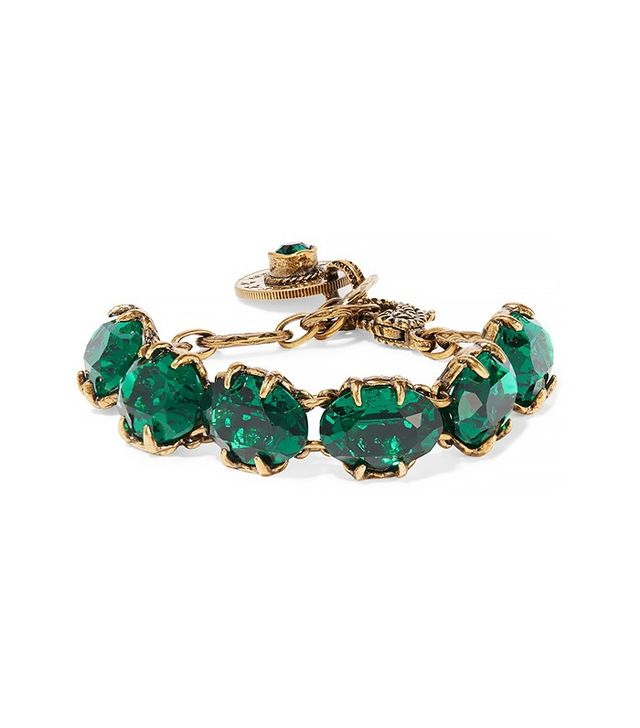 Gucci Burnished Gold-Tone Swarovski Crystal Bracelet