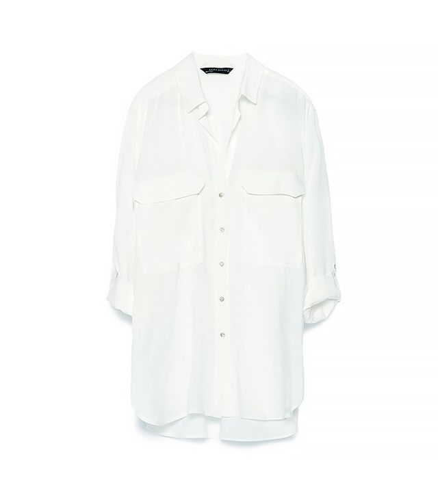 Zara Blouse With Roll-Up Sleeves