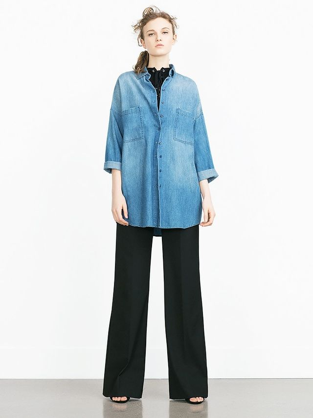 Look #5: On-Trend Black Top + Oversized Chambray Button Down