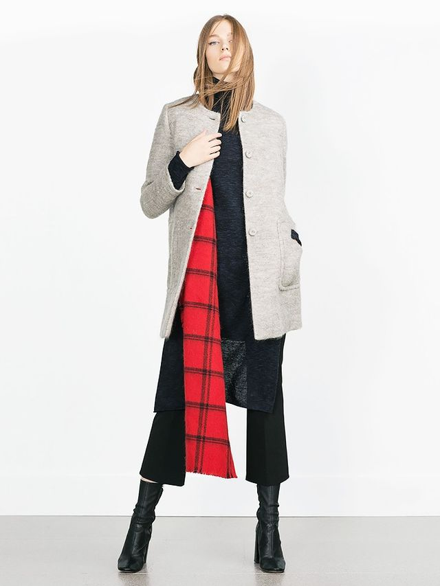 Look #2:  Collarless Jacket + Turtleneck + Bold Scarf