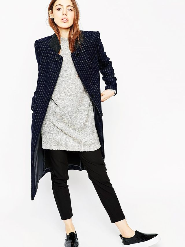Look #4: Menswear-Inspired Jacket + Long Sweater