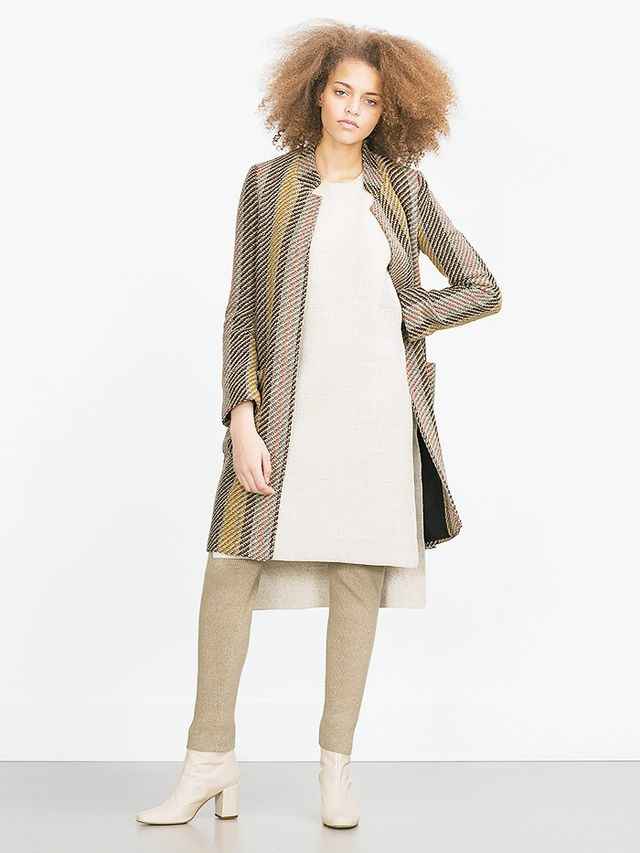 Look #6: Printed Coat + Knee-Length Sweater