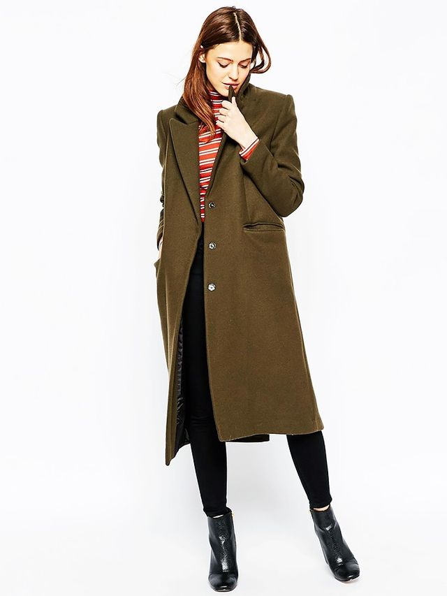 Look #10: Long Coat + Striped Turtleneck Top