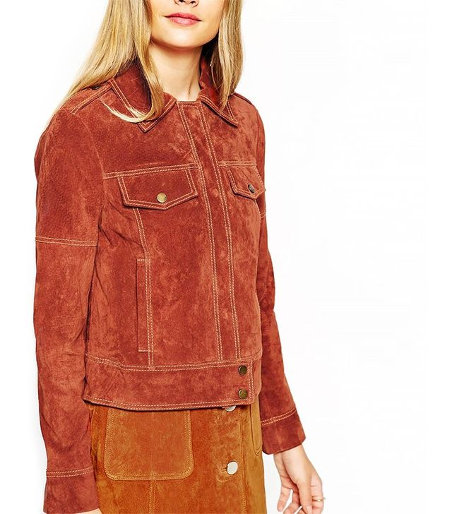 ASOS Western Suede Jacket With Stitch Details