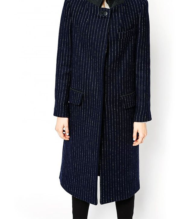 ASOS Pinstripe Coat With Stand Collar