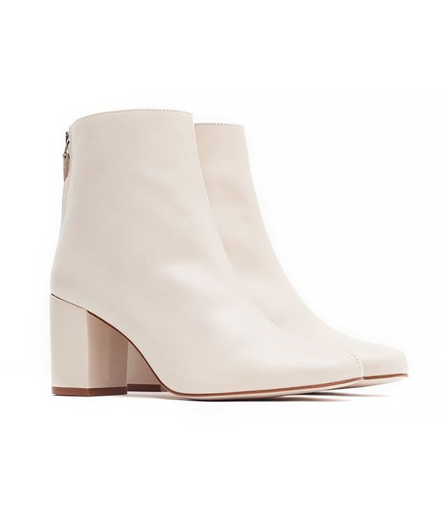 Zara High Heel Leather Ankle Boots With Zip