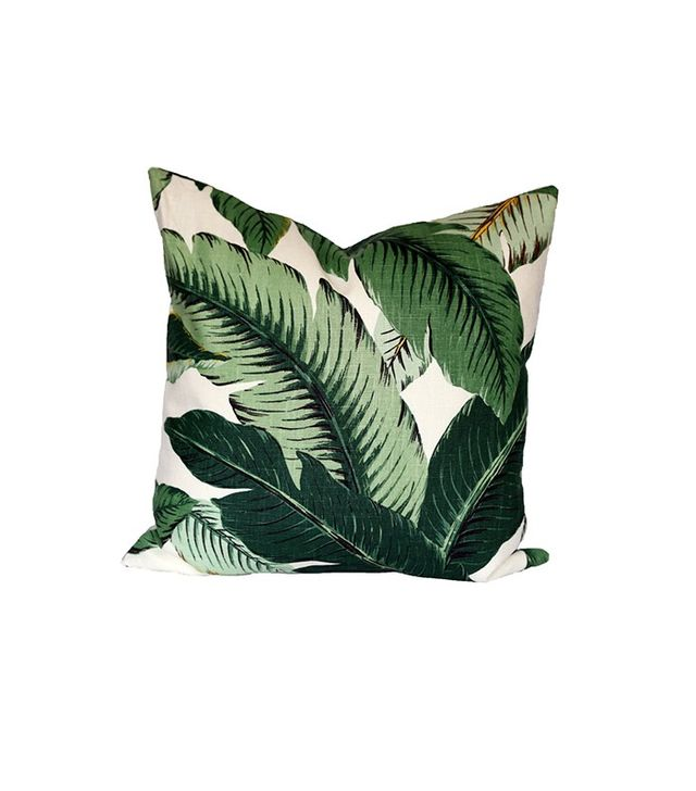 Stuck On Hue Banana Palm Linen Pillow Cover