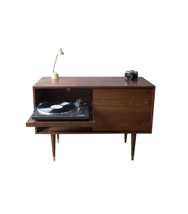 STOR Solid Walnut Record Cabinet With Pull Out Shelf