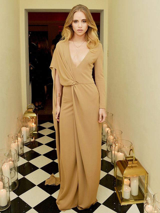 On Suki Waterhouse: Rosetta Getty dress. Style Notes: Rosetta Getty is one of the most exciting labels coming out of Los Angeles right now.