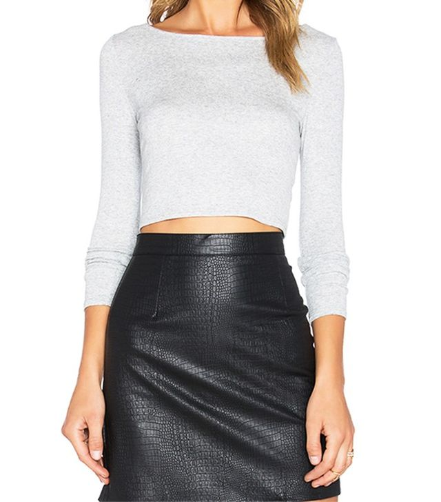 Lanston Cropped Boatneck Long Sleeve Top