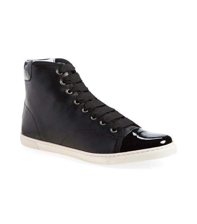 Lanvin Cap Toe High Top Leather Sneaker
