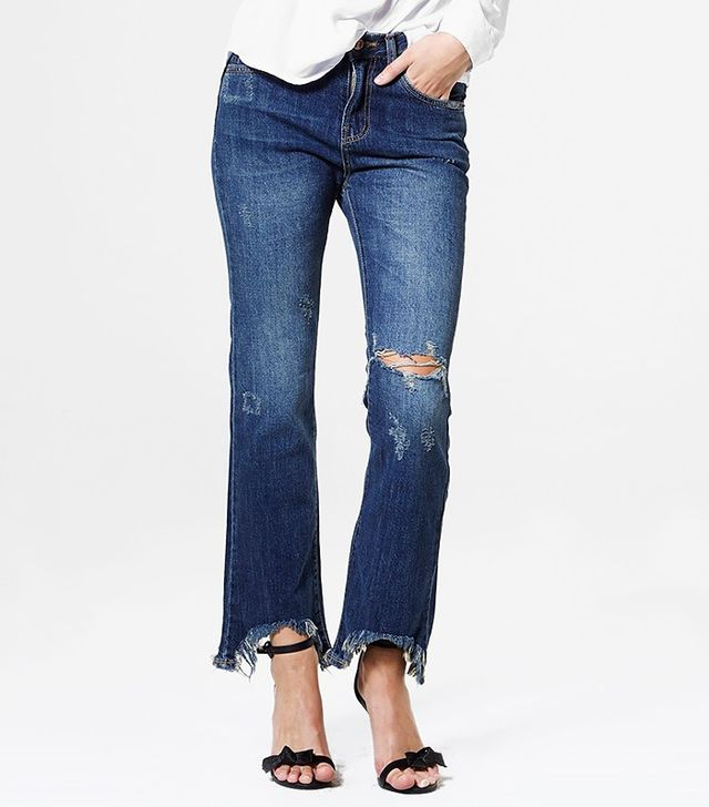 Storets Torn Out Bell Bottom Jeans