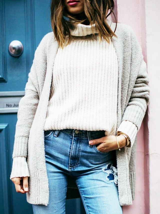 Go for knit-on-knit look—layer a cardigan under a complementary turtleneck sweater.