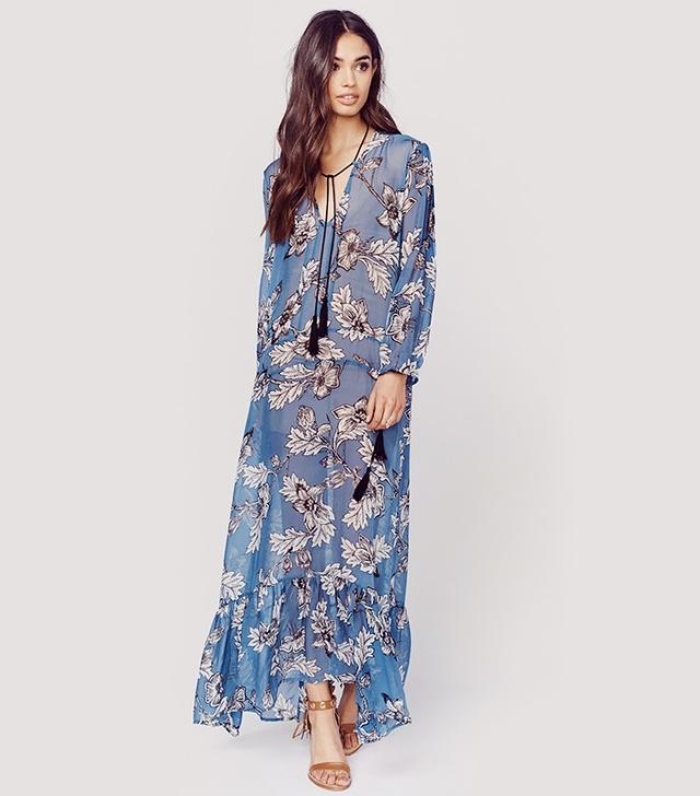 For Love & Lemons Santa Rosa Silk Chiffon Maxi Dress