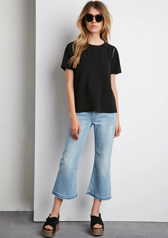 Forever 21 Embroidered Cutout Top