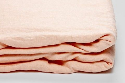 IN BED 100% Linen Fitted Sheet in Peach