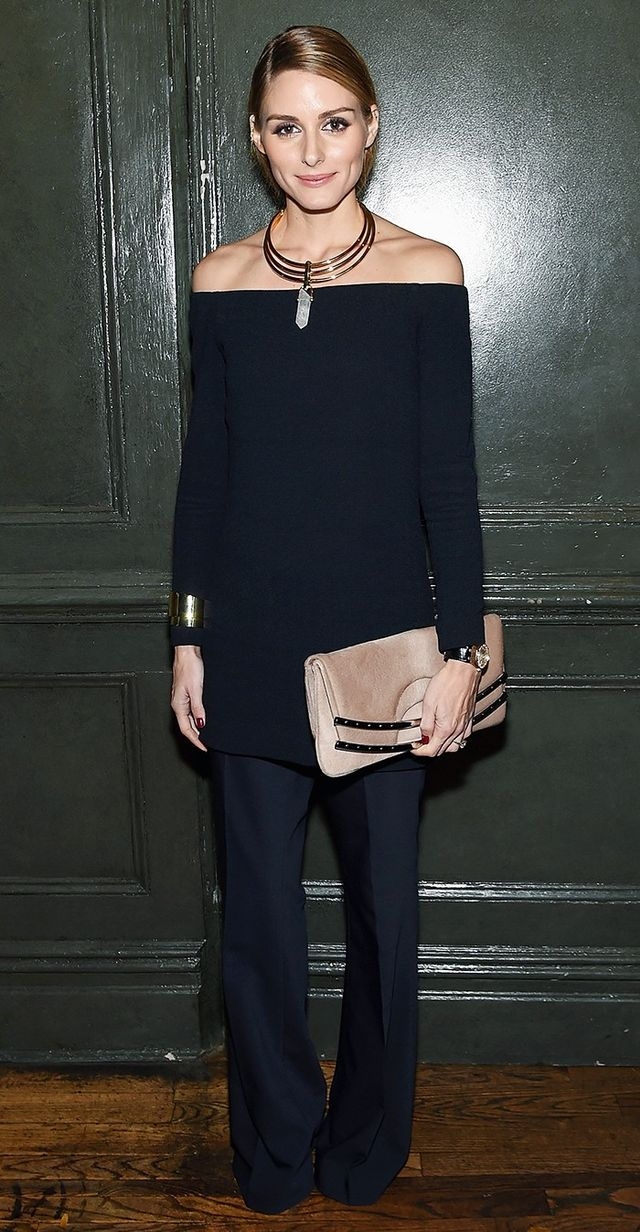 On Olivia Palermo: BaubleBar Occult Collar ($68); Tibi tunic and Anson Stretch-Woven Flared Pants ($350).