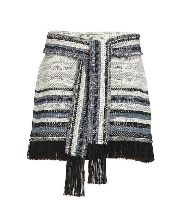 Derek Lam 10 Crosby Fringe Tie Belted Tweed Skirt