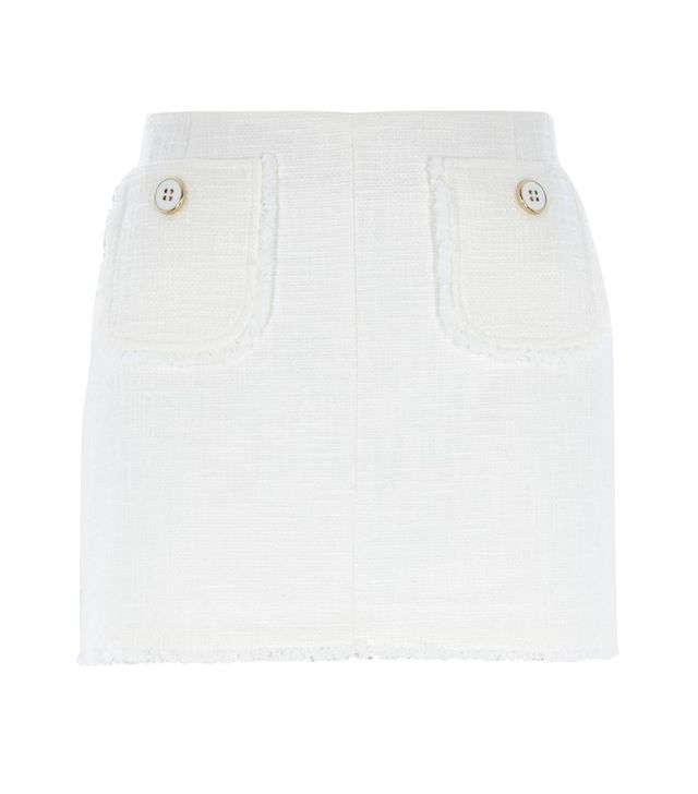 River Island White Smart Tweed Mini Skirt