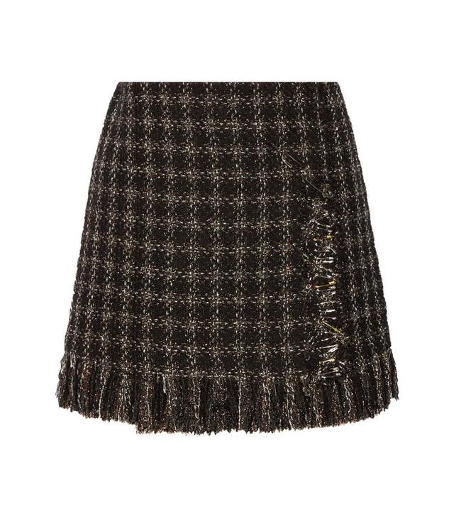 Sonia Rykiel Embellished Metallic Tweed Mini Skirt