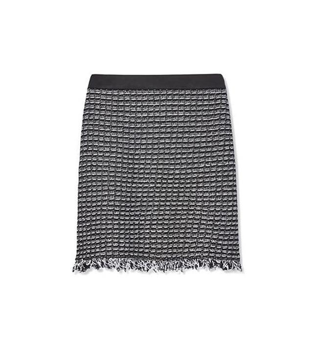 Tory Burch Raffia & Leather Skirt