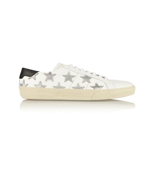 Saint Laurent Star-Appliqued Leather Sneakers