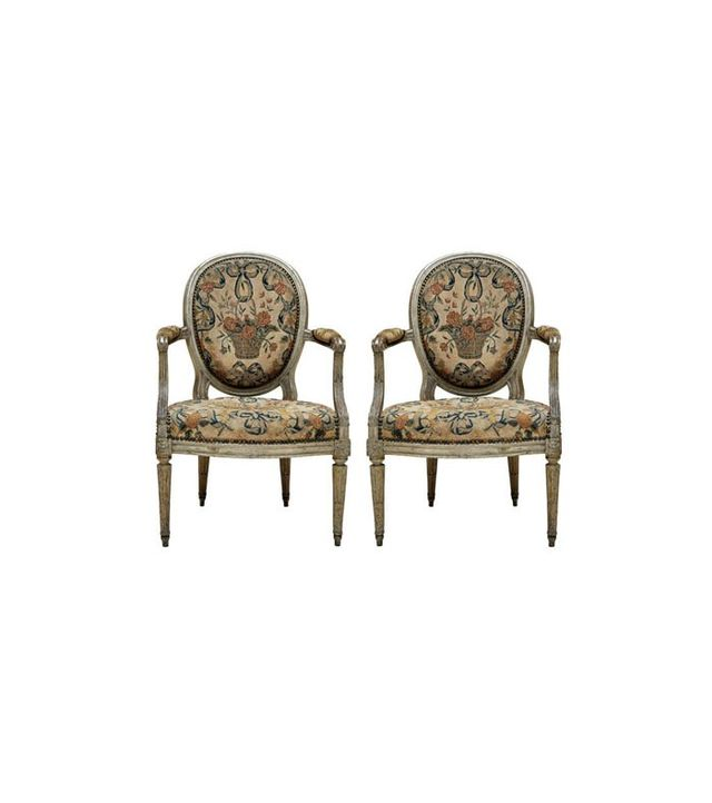 1stdibs French Louis XVI Painted Fauteuils, Set of 2