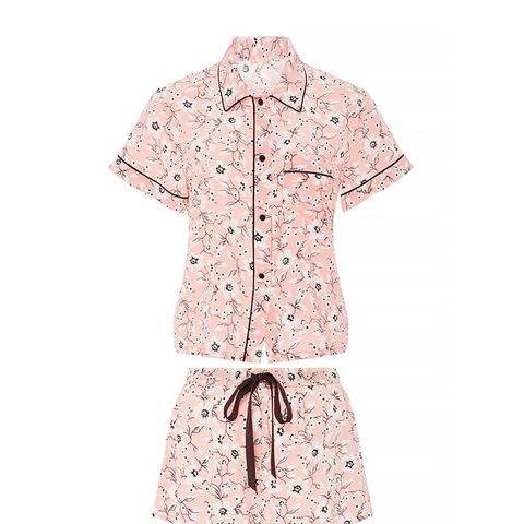 Silk Printed Short Sleeved Pajama Set